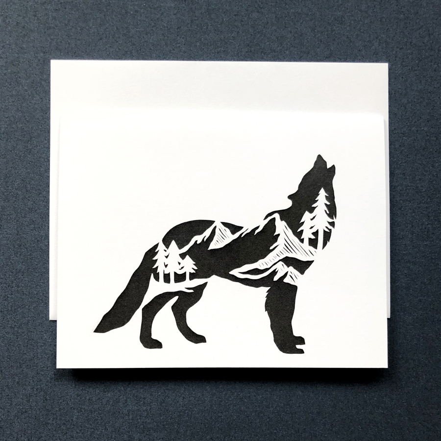 wolf standing card