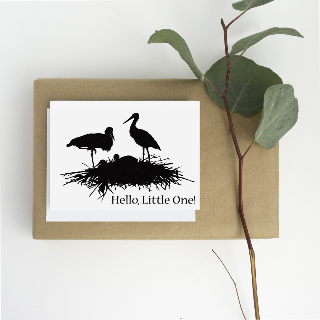 1080 card Occasions new baby stork