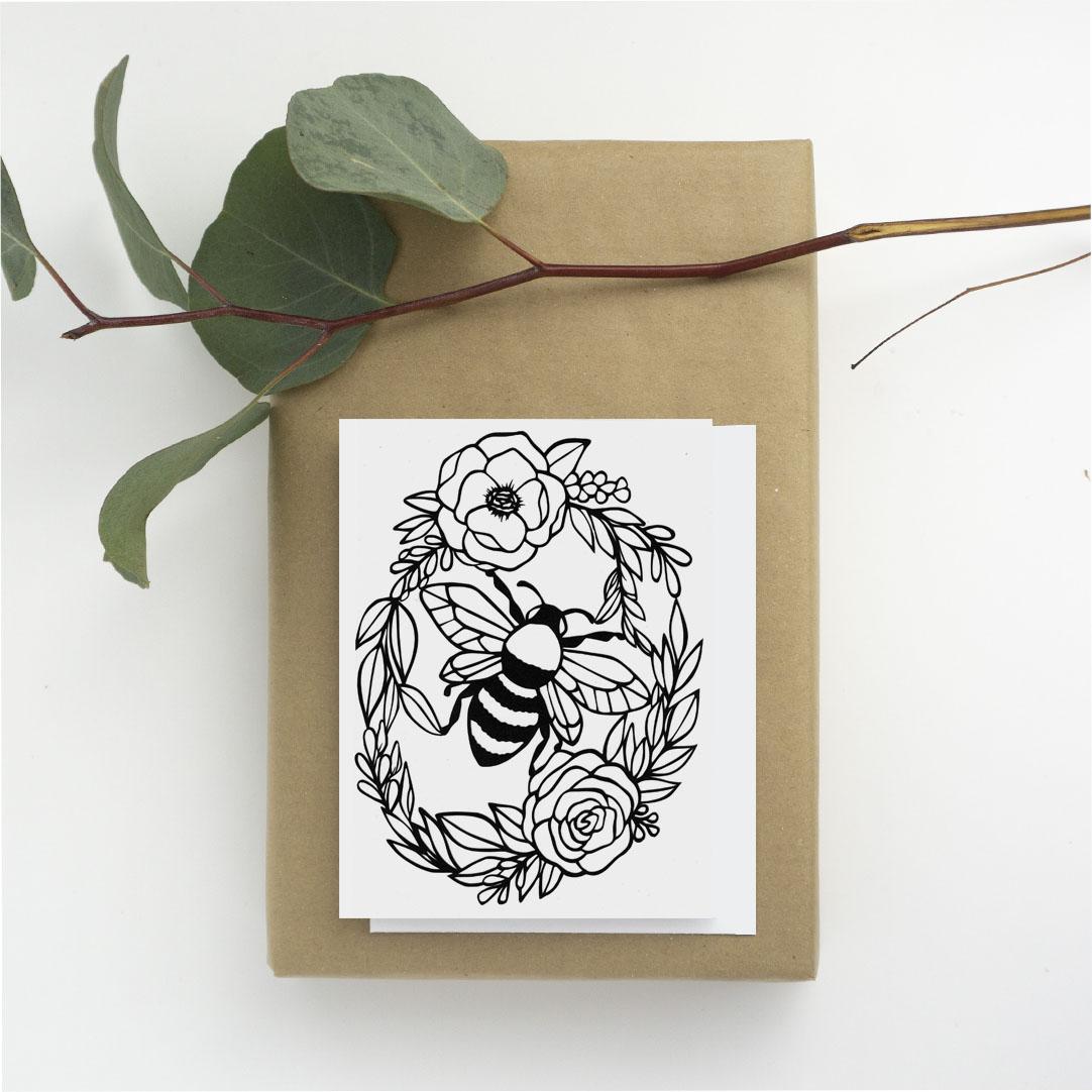 1080 card plants bee wreath